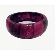 Decoupage Bangle Bracelet Purple Pink Leaves Fall ($13) ❤ liked on Polyvore