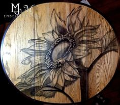 #stainedfurnitureart   Hand stained sunflower on drop leaf table. Stain shading, stain painting, shading with stain M&M Embellishments unique home and garden accents. We specialize in furniture art using stain.  stain painting, stain shading, shading with stain, painting with stain