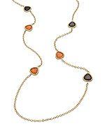 OroClone Gold Rose Aventurine and Smoky Quartz Linear Necklace
