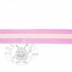 Popruh bavlna 4 cm Pásik ružová bledá