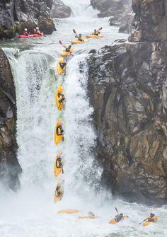 Whitewater Kayak Kayak Waterfall Drop - Action Sequence Composite by Leigh Anderson on Extreme Photography, Sport Photography, Sequence Photography, Whitewater Kayaking, Kayaking Gear, Kayaking Quotes, Canoeing, Ala Delta, White Water Kayak