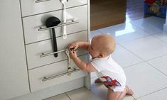 KITCHEN UTENSILS HACK. Babies love to open drawers, but not everything in them is safe for her. If you have drawer handles like the ones in this picture, hook a few utensils over them to keep them shut. Image credit: Pinterest