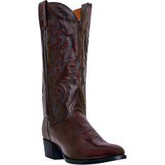 "Dan Post Mens Cherry Leather Milwaukee R Toe 13"""" Cowboy Boots"