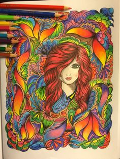 From Fanciful faces High School Art Projects, Art Projects For Teens, Art Journal Inspiration, Color Inspiration, Adult Coloring Pages, Coloring Books, Colored Pencil Techniques, Hippie Art, Color Pencil Art