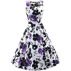 Women's Vintage Sleeveless 1950's Floral Spring Garden Party Picnic... ($17) ❤ liked on Polyvore featuring dresses, sleeveless floral dress, white day dress, vintage white dress, sleeveless swing dress and white trapeze dress