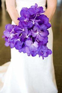 Bride's Gorgeous Heart Shaped Bouquet Of: Purple Vanda Orchids