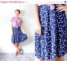 20% OFF HALLOWEEN SALE Vintage boho // blue square polka dots skirt // summer skirt // high waist skirt // fall skirt // mid length skirt //