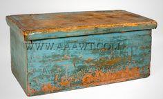 Box, Original Blue Paint  18th Century                                                ****