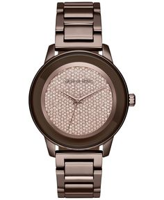 Michael Kors Women's Kinley Sable Ion-Plated Stainless Steel Bracelet Watch 43mm MK6245