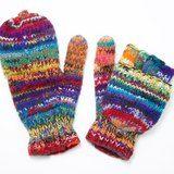 限量一件手織純羊毛保暖手套 / 可拆卸手套 - 混色繽紛彩虹世界