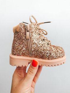 382a8789b2ec4d Itty Bitty Rose Gold Sparkle Winter fur boot