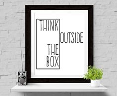 50% OFF SALE Typographic Print Think Outside The Box Wall Print Scandinavian Design Black White Poster Wall Decor Inspirational Quote Art by paperblooming on Etsy https://www.etsy.com/listing/228836498/50-off-sale-typographic-print-think
