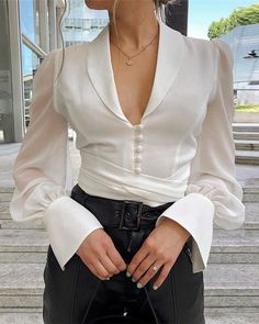 Solid Lantern Sleeve Knotted Shirt Women's Online Shopping Offering Huge Discounts on Dresses, Lingerie , Jumpsuits , Swimwear, Tops and More. Trend Fashion, Look Fashion, Fashion Outfits, Womens Fashion, Fashion Fall, Girl Fashion, White Chiffon Blouse, Chiffon Blouses, Chiffon Tops