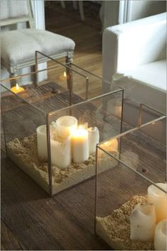 candles in shadow box
