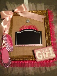 It's a Girl Wreath Baby Hospital Sign. Made with Gold Frame, Burlap Canvas, Tulle, Pink Satin Ribbon and hand drawn Ballet Slippers with sequins