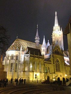 Saint Matthias Church at Night. The brilliantly illuminated church on Castle Hill in Budapest, Hungary.