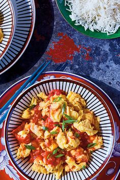 Home-style Chinese food at its simplest and, arguably, tastiest, this dish is the object of nostalgia for many Chinese immigrants (and their children) Well-seasoned eggs scrambled until just-set combine at the last moment with a sweet-tart ginger-tomato sauce Serve with lots of steamed rice