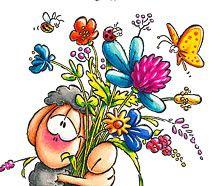 Wolliwell mit Blumenstrauß
