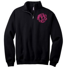1/4 Zip Monogrammed Collar Sweatshirt Threaded Monogram (47 CAD) ❤ liked on Polyvore featuring tops, hoodies, sweatshirts, black, outerwear, women's clothing, zip sweatshirt, zipper top, sweatshirt hoodies and cut off sweatshirt
