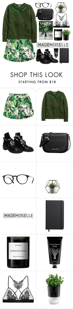 """""""Untitled #190"""" by diananarm ❤ liked on Polyvore featuring H&M, Balenciaga, MICHAEL Michael Kors, Oliver Peoples, Shinola, Byredo, TokyoMilk, Fleur of England, Bodum and women's clothing"""