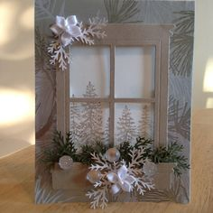 Christmas card design with the Big Shot and Framelits - - Xmas Cards, Holiday Cards, Handmade Christmas, Christmas Crafts, Window Cards, Hearth And Home, Christmas Makes, Paper Cards, Creative Cards
