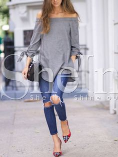 Grey Long Sleeve Off The Shoulder Knotted Blouse 13.99