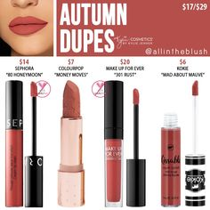 Kylie Cosmetics Autumn Liquid Lipstick Dupes - All In The Blush - Makeup Tips Lipstick For Fair Skin, Lipstick Art, Natural Lipstick, Dark Lipstick, Lipstick Swatches, Lipstick Shades, Lipstick Colors, Liquid Lipstick, Kylie Lipstick
