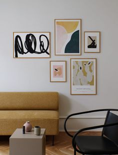 Nordic Living Room, Living Room Art, Mustard Sofa, Rose Art, Scandinavian Home, Oeuvre D'art, Decoration, Interior Inspiration, Gallery Wall