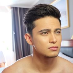 MakingMegaGreeceWithJadine (ctto) I don't really like him with contacts but that's just my opinion Movie Talk, James Reid, Nadine Lustre, Male Makeup, Jadine, Music Labels, Handsome Faces, Young Actors, Attractive Guys