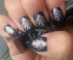 Nail Art Decals 62 SILVER LACE DEMASK Waterslide by NorthofSalem, $6.99