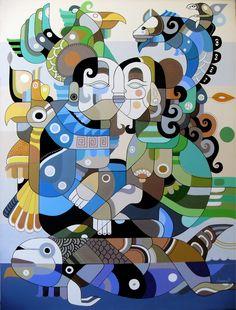 "Couple on the Paranapanema River by Fernando Chamarelli, acrylic on canvas, 80 x 60 cm (31.2"" x 23.7""), 2011"