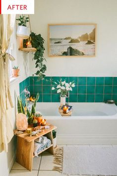 Before and After: An Ingenious Fix for Ugly Rental Bathroom Tiles. This rental bathroom needed a little help, but nothing that would cost a ton of money or cost the residents their security deposit. Rental Bathroom, Boho Bathroom, Bathroom Styling, Bathroom Inspo, Bathroom Colors, Bathroom Plants, Bathroom Green, Modern Bathroom, Small Bathroom
