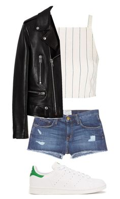 """""""Untitled #232"""" by preppedinpolos on Polyvore featuring Current/Elliott, Topshop, Yves Saint Laurent and adidas Originals"""