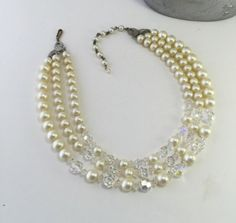 Glass and Pearl Multi Strand Necklace Multi Strand Beaded