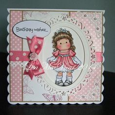 Ellas Design: Princess Tilda in pink… Girl Birthday Cards, Birthday Cards For Women, Handmade Birthday Cards, Greeting Cards Handmade, Pretty Cards, Cute Cards, Magnolia Stamps, Square Card, Copics