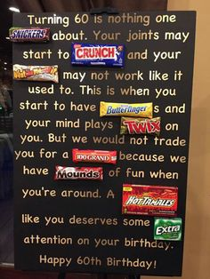 Old Age Over The Hill 60th Birthday Card Poster Using Candy Bars