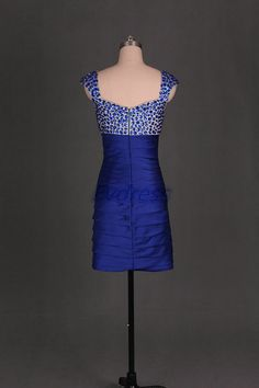 Korte royal blue satijn prom jurk met strass 2016 door Evdress