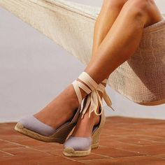 Linen Espadrille Tall Wedge   Soludos