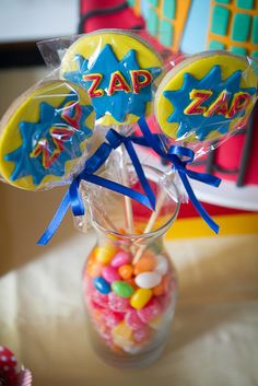 Superhero cookie pops #superhero #cookie, great centerpiece for the shower and a favor for the guests