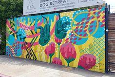 Geoscape Mural at Den Urban Dog Retreat in Los Angeles Star Painting, Mural Painting, Beach Mural, School Murals, Murals For Kids, Grafiti, Best Street Art, Murals Street Art, Mural Wall Art