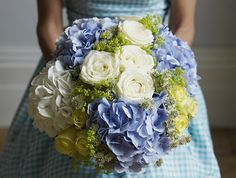 Blue and white hydrangea and rose #bouquet by Jane-Packer