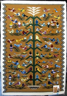Navajo Rug Tree Of Life Weaving Pictorial Daisy Nockideneh