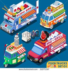 Food Truck Collection. Food Delivery Master. Street Food Chef Web Template. NEW bright palette 3D Flat Vector Icon Set Isometric Food Truck. Full Taste High Quality Dishes Alternative Street Cuisine - stock vector