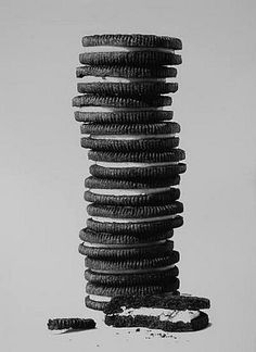 September 30 - October 4 2013  William Harrison - ten and a half oreos. Snack food still life. Use real life if possible. Take a bite and then draw. If not use a camera then draw from the image.