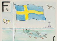 Elsa Beskow - Swedish Alphabet Elsa Beskow, Learn Swedish, Alphabet Cards, Scandinavian Art, Childrens Books, Illustrators, Art For Kids, Design Art, Kids