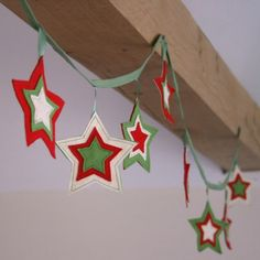 "What a cute way even the youngest of kids can ""make"" holiday decorations. EVEN better if you use yo… – christmas Christmas Makes, Felt Christmas, Handmade Christmas, Christmas Time, Merry Christmas, Christmas Ornaments, Diy Christmas Bunting, Christmas Stars, Festive Crafts"