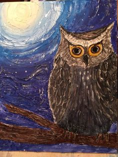 Dimensional acrylic owl painting. Sold for $45.