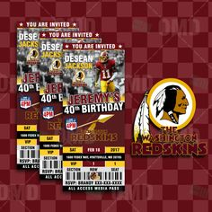 Washington Redskins Football Ticket Style Sports Party Invites