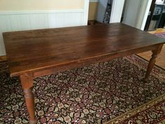 80'' Classic Turned Leg Farm Table, Looks Perfect on Area Rug in This Historic NH Seacoast Home