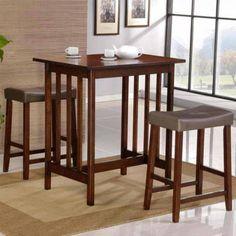 Nova Cherry 3 Piece Counter Height Dining Room Table Kitchen Bar Stool Chair Set via Rumma.ge